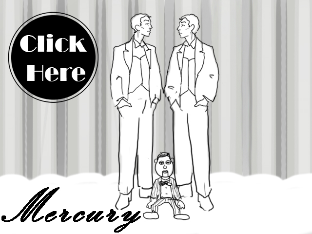 Black, white, and neutral colored illustration of Mercury twins with a seated puppet Greek-Roman God Mercury horoscope.