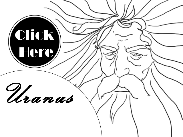 Black and white illustration of Uranus Greek-Roman God Uranus horoscope.