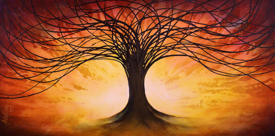 Tree of Life with burning red sunlight behind it. Painted by Michel Lang.