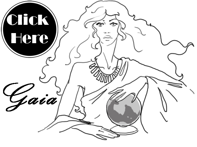 Black, white, and neutral colored illustration of Gaia Greek-Roman Goddess Gaia Earth horoscope.