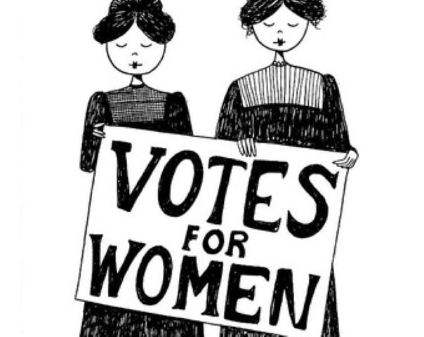 Black and white illustration of two women with Votes For Women sign. from: PWCD Female Voting Rights and the Age of Consent