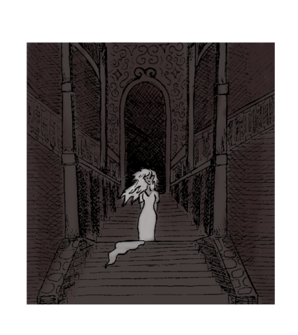 Black and white illustration of woman standing inside a mansion by Glenna T. from: PWCD Dream of Sanctuary - child abuse and molestation