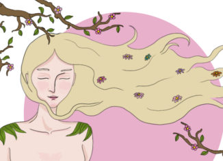 Colorful illustration of a girl enjoying spring. from: PWCD - Topics: female visionaries...