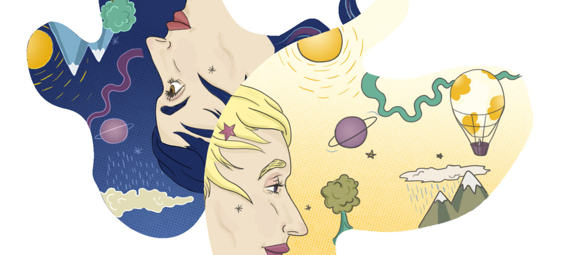 Brightly-colored illustration of the reverse universe. from: PWCD - articles on female empowerment.
