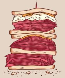 Color illustration of a triple stacked meat sandwich. from: PWCD Life Is the Birds and the Bees. pro-life vs pro-choice