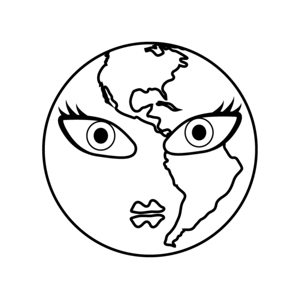 Black and white drawing of an earth with a female's face. from: PWCD - Feminist Charities.