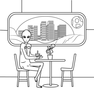 Black and white drawing of an alien in a coffeeshop on the moon. from: PWCD Feminist Nonprofits.
