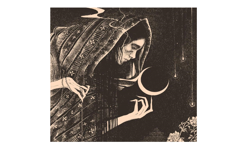 Illustration depicting the folklore of El Salvador, crone with moon. from: PWCD - reproductive rights in central america.