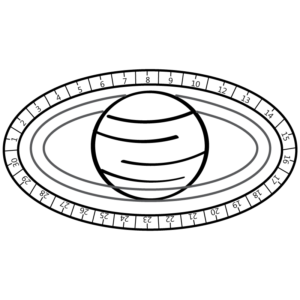 Black and white drawing of a Saturn-like planet surrounded by calendric rings. from: PWCD Support Feminist Literature.
