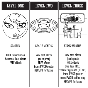 Black and white illustration of earth with woman's face, Saturn with calendric rings, and an alien in a coffee shop on the Moon. from: PWCD - Feminist Charities.