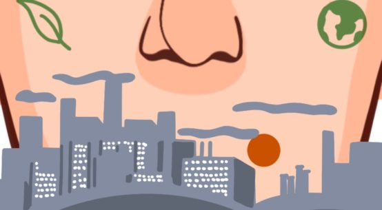 Color illustration of a gigantic nose and lower face with smoggy industrial buildings and green symbols. from: PWCD - Air Pollution and Covid-19.
