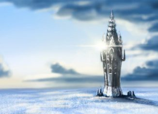 Illustration of a tower with snow and clouds. from: PWCD - Spellwork For Self-Care, self preservation,