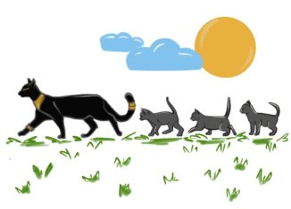 """Color illustration of a black cat and several gray kittens. from: PWCD - the word """"maid"""""""