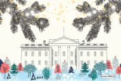 Illustration of the White House in winter with festive trees and stars. from: PWCD -
