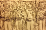 Tan-colored painting of Cambodian dancers. from: PWCD - Transactional Sex.
