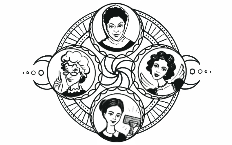 """A circular black and white illustration of 4 different types of """"maid."""" from: PWCD -"""