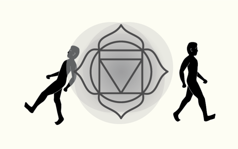 Illustration of a gray flower - like symbol and two male evolutionary figures. from: PWCD - Rebirth Religions