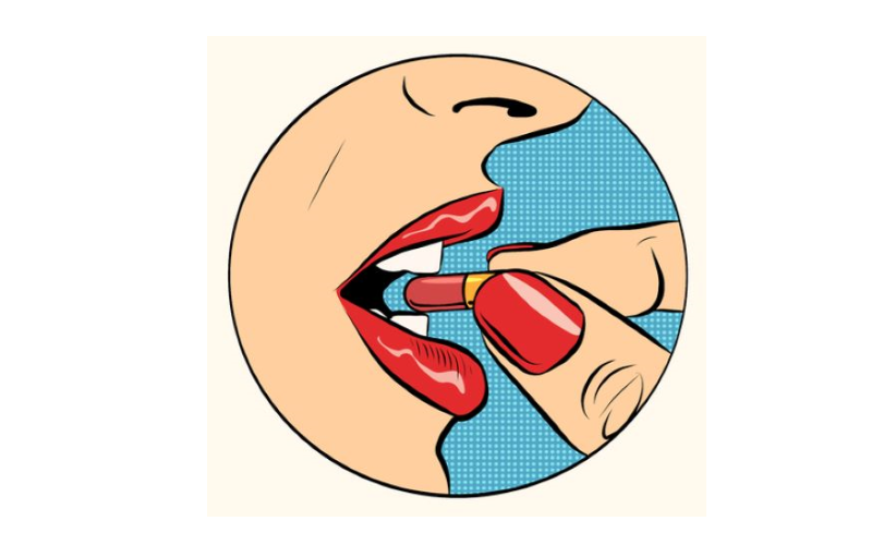Pop art picture of a woman with red lipstick taking a pill. from: PWCD - birth control in third world countries