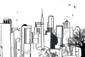 Black and white illustration of Seattle and syringe needle. from: PWCD -