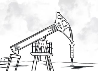 Black and white illustration of an oil rig and syringe. from: PWCD -