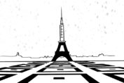 Black and white illustration of the Eiffel Tower as syringe. from: PWCD -