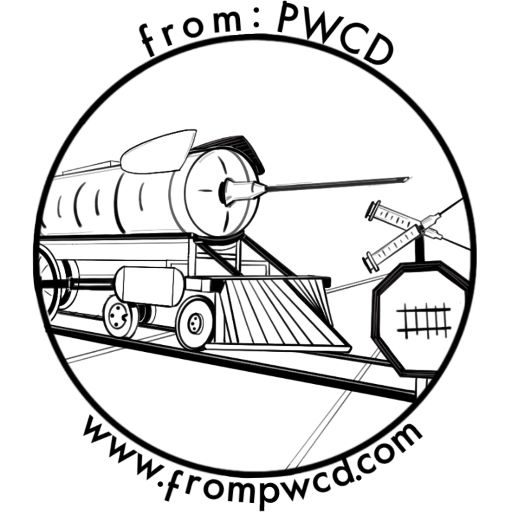 Black and white illustration of an enormous syringe on a train. from: PWCD -