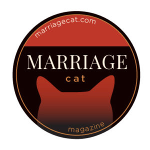 Circular, black, and red Marriage Cat Magazine logo with white text. from: PWCD -