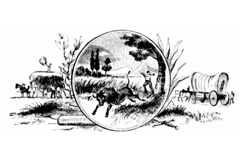 Black and white illustration of Indiana state seal. from: PWCD - Lisa Montgomery