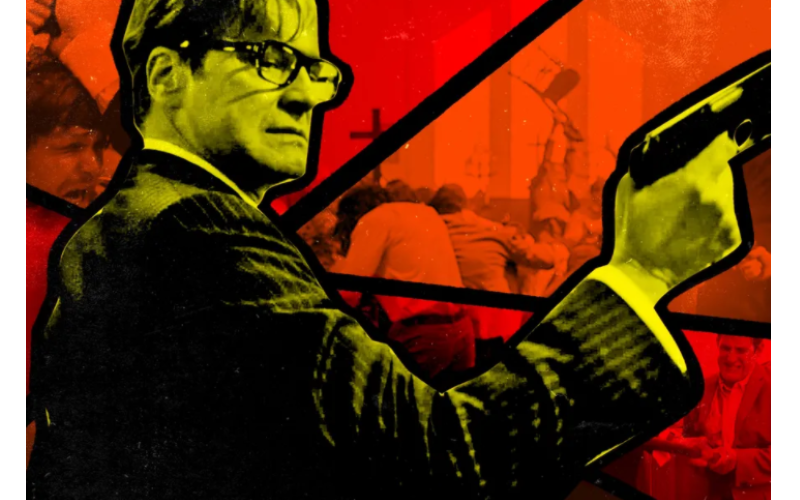 Film illustration of a man with a gun in a church in dark colors and red. from: PWCD - church murders
