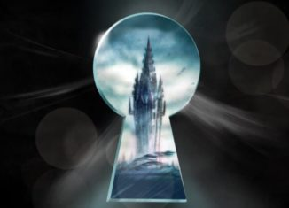 Illustration of a tower through a dark keyhole. from: PWCD -