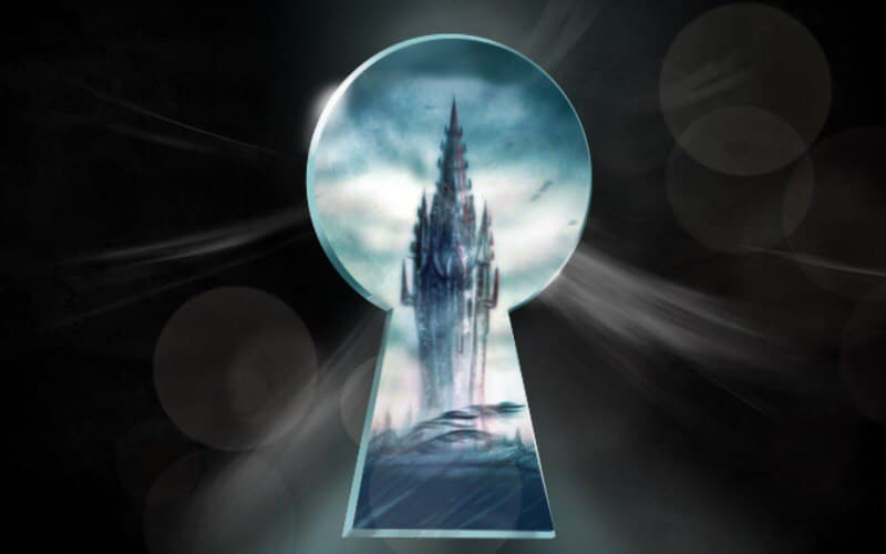 Illustration of a tower through a dark keyhole. from: PWCD - Texas Abortion Ban