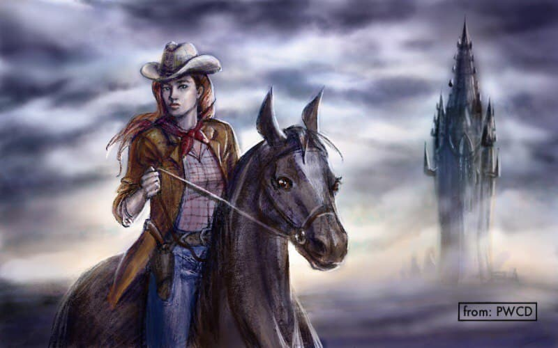 Illustration of a cowgirl on a horse near a large tower. from: PWCD - Articles On Female Empowerment - Feminist Articles 2020, Feminist Articles 2021