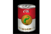 Art Print - a red and white soup can resembling Campbells with text 'Oh Worm.' from: PWCD -